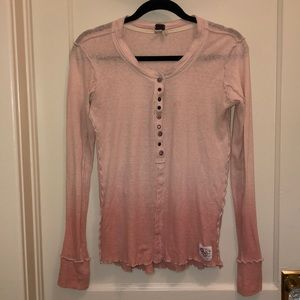 Pink Ombré Free People Cozy Up Button Henley